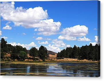 Lake Cuyamac Landscape And Clouds Canvas Print