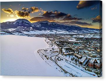Canvas Print featuring the photograph Lake Dillon Sunset by Sebastian Musial