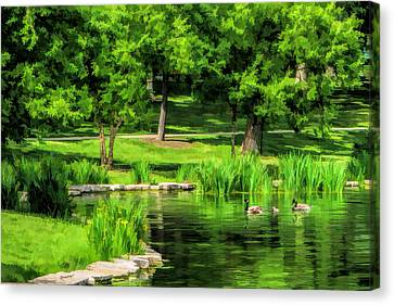Canvas Print featuring the painting Lake Ellyn Geese by Christopher Arndt