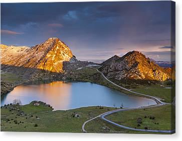 Lake Enol Canvas Print by Sebastian Wasek