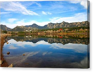 Canvas Print featuring the photograph Lake Estes Reflections by Perspective Imagery