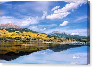 Canvas Print featuring the photograph Lake Forebay Reflections by Tim Reaves