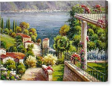 Lake Front Villa Canvas Print
