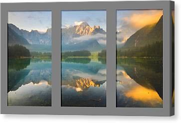 Lake Fusine In Triptych Canvas Print