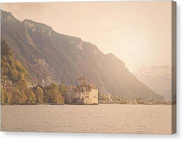 Lake Geneva Switzerland In Winter With Instagram Style Filter Canvas Print by Brandon Bourdages