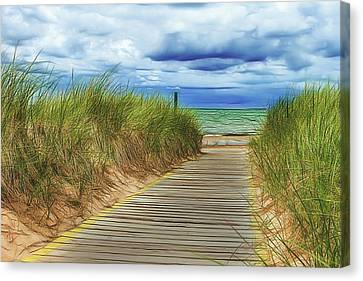 Lake Huron Boardwalk Canvas Print by Bill Gallagher