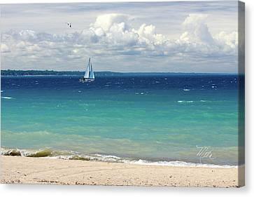 Canvas Print featuring the photograph Lake Huron Sailboat by Meta Gatschenberger
