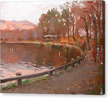 Lake In Bear Mountin Canvas Print by Ylli Haruni