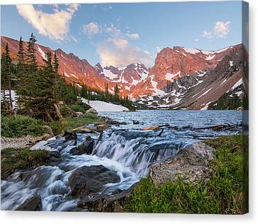 Canvas Print featuring the photograph Lake Isabelle Sunrise by Aaron Spong