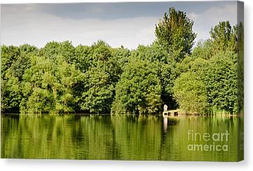 Lake Jetty Dinton Pastures Lakes And Nature Reserve Shore Line Canvas Print by Andy Smy