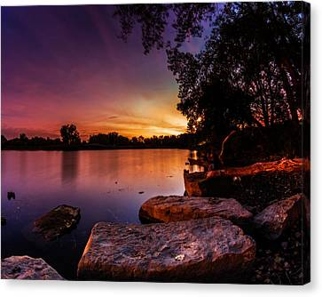Canvas Print featuring the photograph Lake Kirsty Twilight by Chris Bordeleau