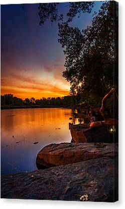 Canvas Print featuring the photograph Lake Kirsty Twilight - Vertical by Chris Bordeleau