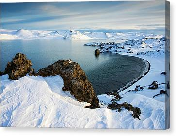 Canvas Print featuring the photograph Lake Kleifarvatn Iceland In Winter by Matthias Hauser