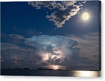 Lake Lightning Striking Thunderstorm Cell And Full Moon Canvas Print by James BO  Insogna