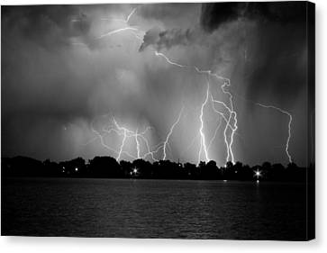 Lake Lightning Two Bw Canvas Print by James BO  Insogna