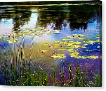 Lake Lilly Monet Style Canvas Print by Louise Lavallee