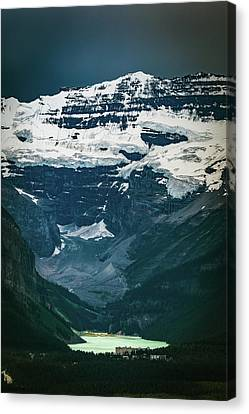 Canvas Print featuring the photograph Lake Louise At Distance by William Lee