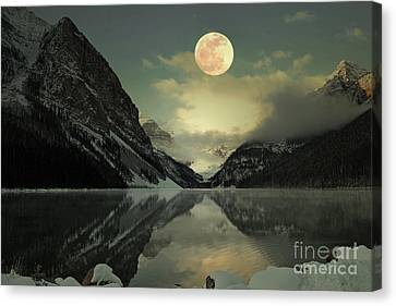 Lake Louise Moon Glow Canvas Print by Andrea Hazel Ihlefeld