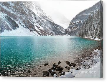 Lake Louise Mountain Snow Forest Landscape Canvas Print by Andrea Hazel Ihlefeld