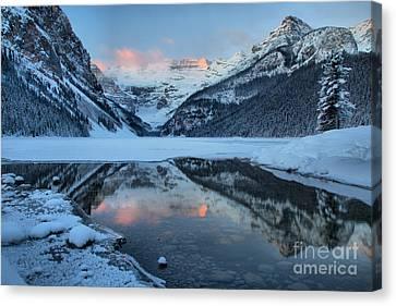 Canvas Print - Lake Louise Pink Winter Sunrise by Adam Jewell