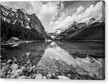 Lake Louise Bw Canvas Print