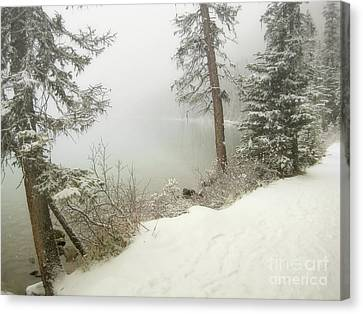 Canvas Print featuring the photograph Lake Louise Shore by Andrea Hazel Ihlefeld