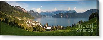 Lake Lucerne At Weggis Canvas Print by Brian Jannsen