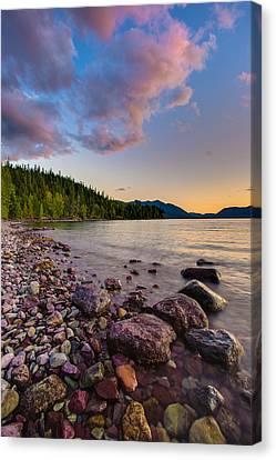 Lake Mcdonald At Sunset Veritcal Canvas Print by Adam Mateo Fierro