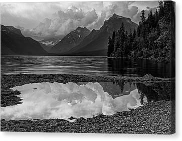 West Glacier Canvas Print - Lake Mcdonald Sunset In Black And White by Mark Kiver
