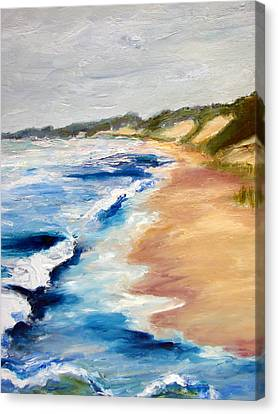 Lake Michigan Beach With Whitecaps Detail Canvas Print by Michelle Calkins