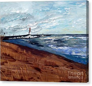 Canvas Print featuring the painting Lake Michigan Beauty by Ayasha Loya