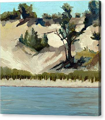 Canvas Print featuring the painting Lake Michigan Dune With Trees And Beach Grass by Michelle Calkins