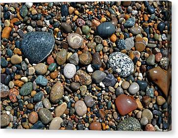 Canvas Print featuring the photograph Lake Michigan Stone Collection by Michelle Calkins