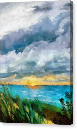 Lake Michigan Sunset Canvas Print by Michelle Calkins