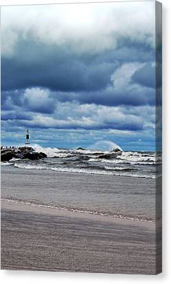 Lake Michigan With Big Wind  Canvas Print by Michelle Calkins