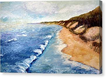 Lake Michigan With Whitecaps Ll Canvas Print by Michelle Calkins