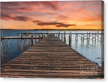 Lake Murray Lodge Pier At Sunrise Landscape Canvas Print