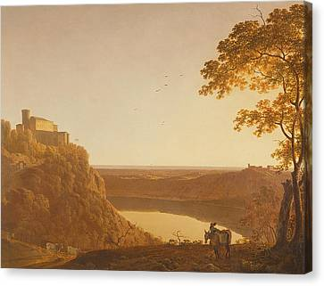 Lake Nemi At Sunset Canvas Print by Joseph Wright of Derby