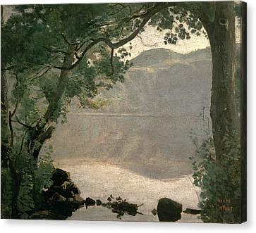Lake Nemi Canvas Print by Jean Baptiste Camille Corot