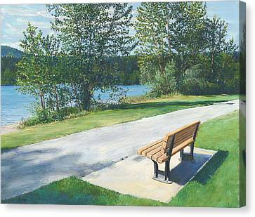 Lake Padden Series - Memorial Bench Of Andrew Phillip Jones Canvas Print