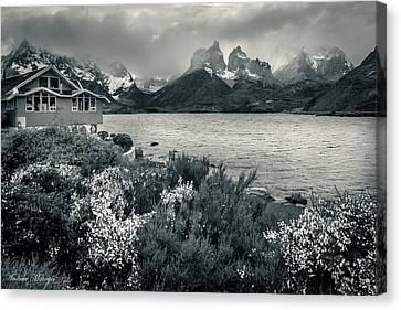 Lake Pehoe In Black And White Canvas Print by Andrew Matwijec