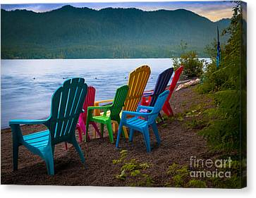 Lake Quinault Chairs Canvas Print
