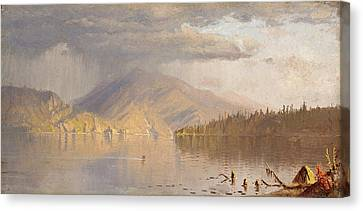 Seaside Heights Canvas Print - Lake Scene Possibly  A Rainy Day On Lake Kenogamy, C.  by Sanford Robinson Gifford