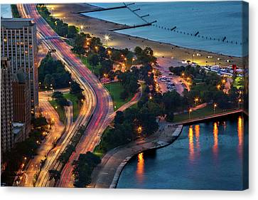 Lake Shore Lights Canvas Print by Adam Oles