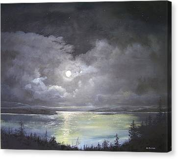 Canvas Print featuring the painting Lake Shore Moonscape  by Ken Ahlering