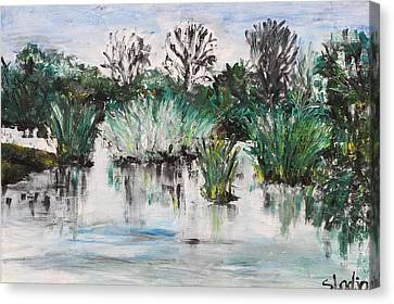 Canvas Print featuring the painting Lake by Sladjana Lazarevic