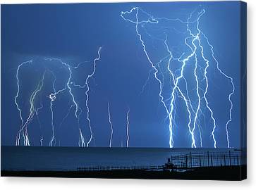 Lake St. Clair Lightning Canvas Print by Cale Best