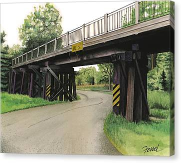 Canvas Print featuring the painting Lake St. Rr Overpass by Ferrel Cordle