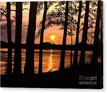 Canvas Print featuring the painting Lake Sunset by Patricia L Davidson