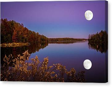 Lake Super Moon Reflection Canvas Print by Randall Branham